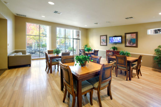 dining room with tables, chairs, plants, television, and seating areas