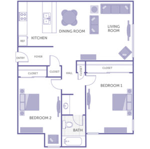 2 bed 1 bath floor plan, kitchen, dining room, living room, 4 closets
