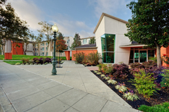 Front entrance of Oak Village lobby, sidewalks, and light post