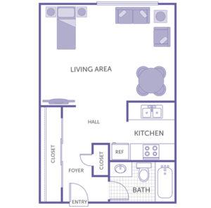studio 1 bath floor plan, living area, large closet, small closet, kitchen